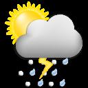 Symbolgrafik: wolkig, Regen, Gewittergefahr, vorüberegehend sonnig