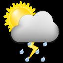 Symbolgrafik: wolkig, wechselnd sonnig und Gewitterschauer