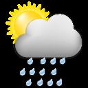Symbolgrafik: wechselhaft mit kräfigen Regenschauern, wenig Sonne