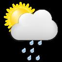 Symbolgrafik: überwiegend sonnig, teils Wolken und Regen