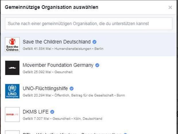 Facebook Spendenaufruf