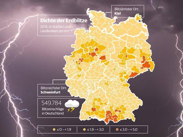 blitzeinschlag karte deutschland Blitz Atlas 2015 für Deutschland: Hier gab es die meisten