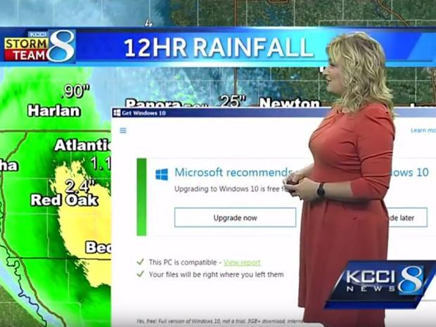 Windows-10-Pop-up live im Wetterbericht mit Metinka Slater bei KCCI