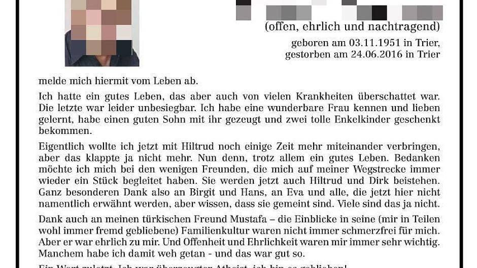 Trierischer volksfreund traueranzeigen