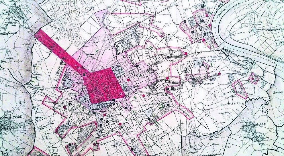 Krefeld Karte.Krefeld Historische Karte Zeigt Kriegszerstörungen