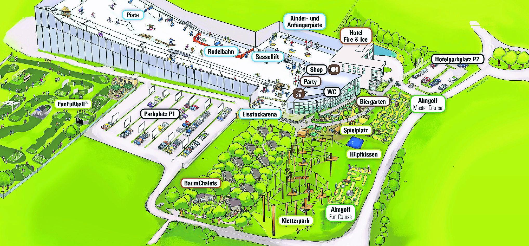 Skihalle wird zum Alpenpark Neuss: Baum-Chalets fast fertig on