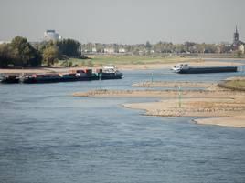 Nur 26 Zentimeter in Emmerich : Wasserstand im Rhein erreicht Rekord-Tief