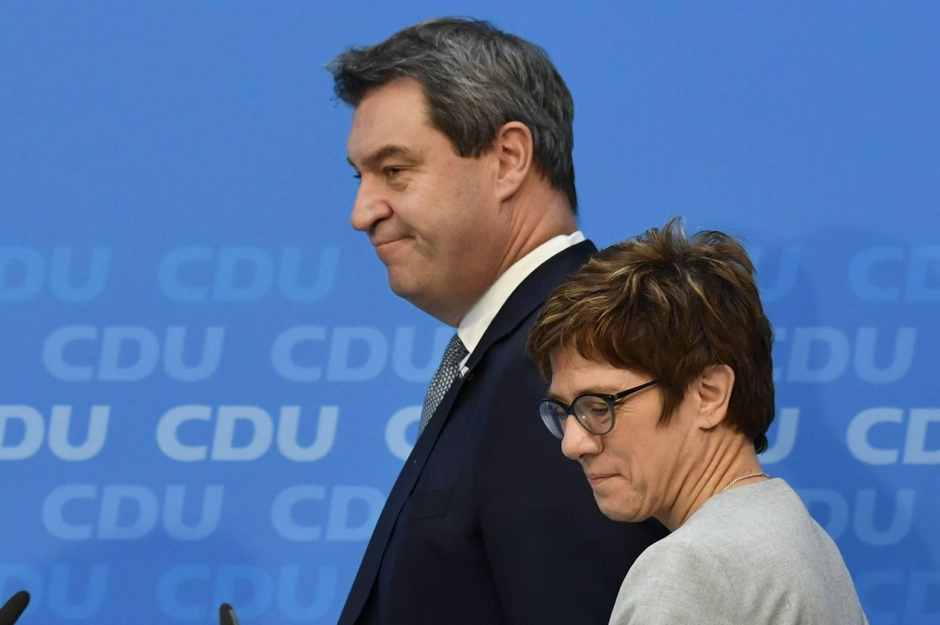CDU und CSU: Söder und Kramp-Karrenbauer versprechen Neustart