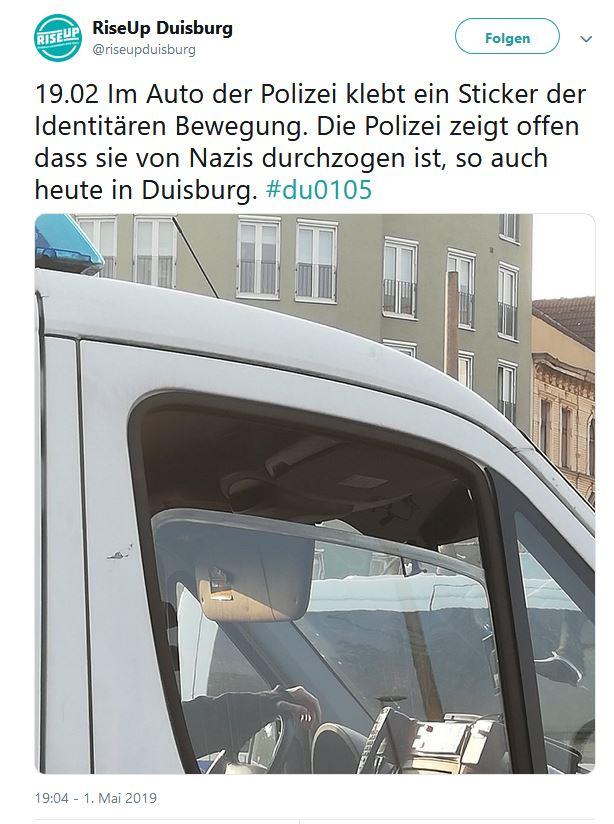 Duisburg Aufkleber Der Identitären Bewegung In