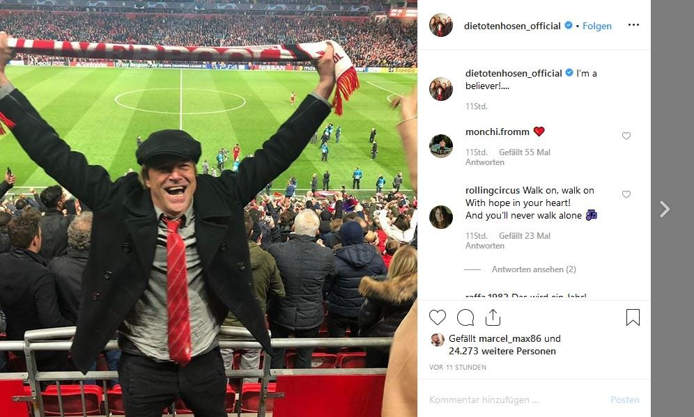 Champions-League: So ausgelassen feierte Campino den FC-Liverpool-Sieg