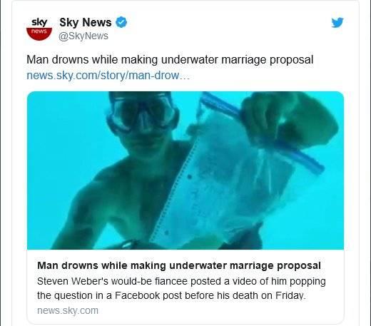 Tragisches Unglück: Mann ertrinkt bei Heiratsantrag