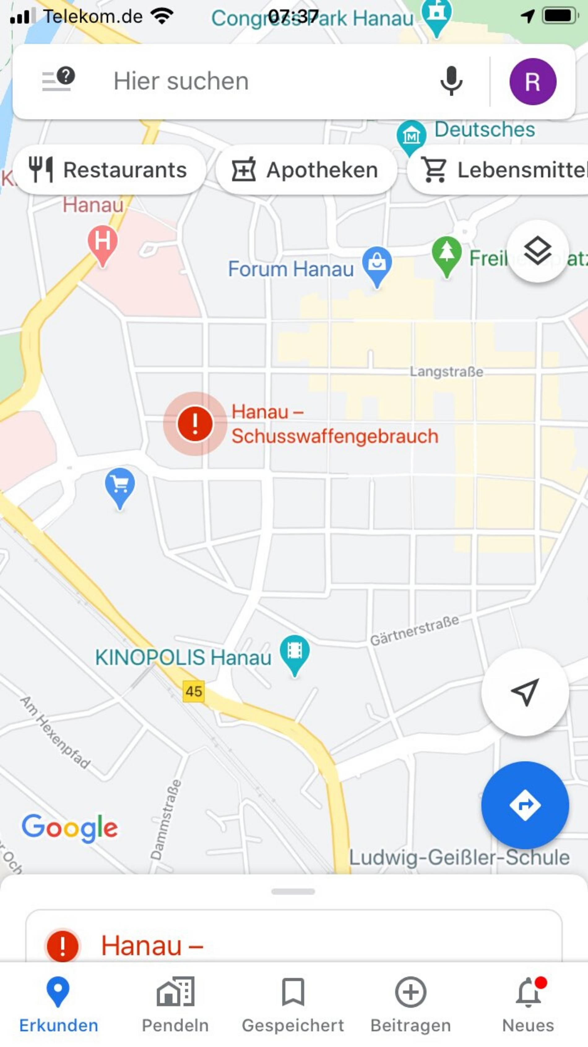 Google Maps Warnung Bei Hanau Anschlag Wie Geht Das