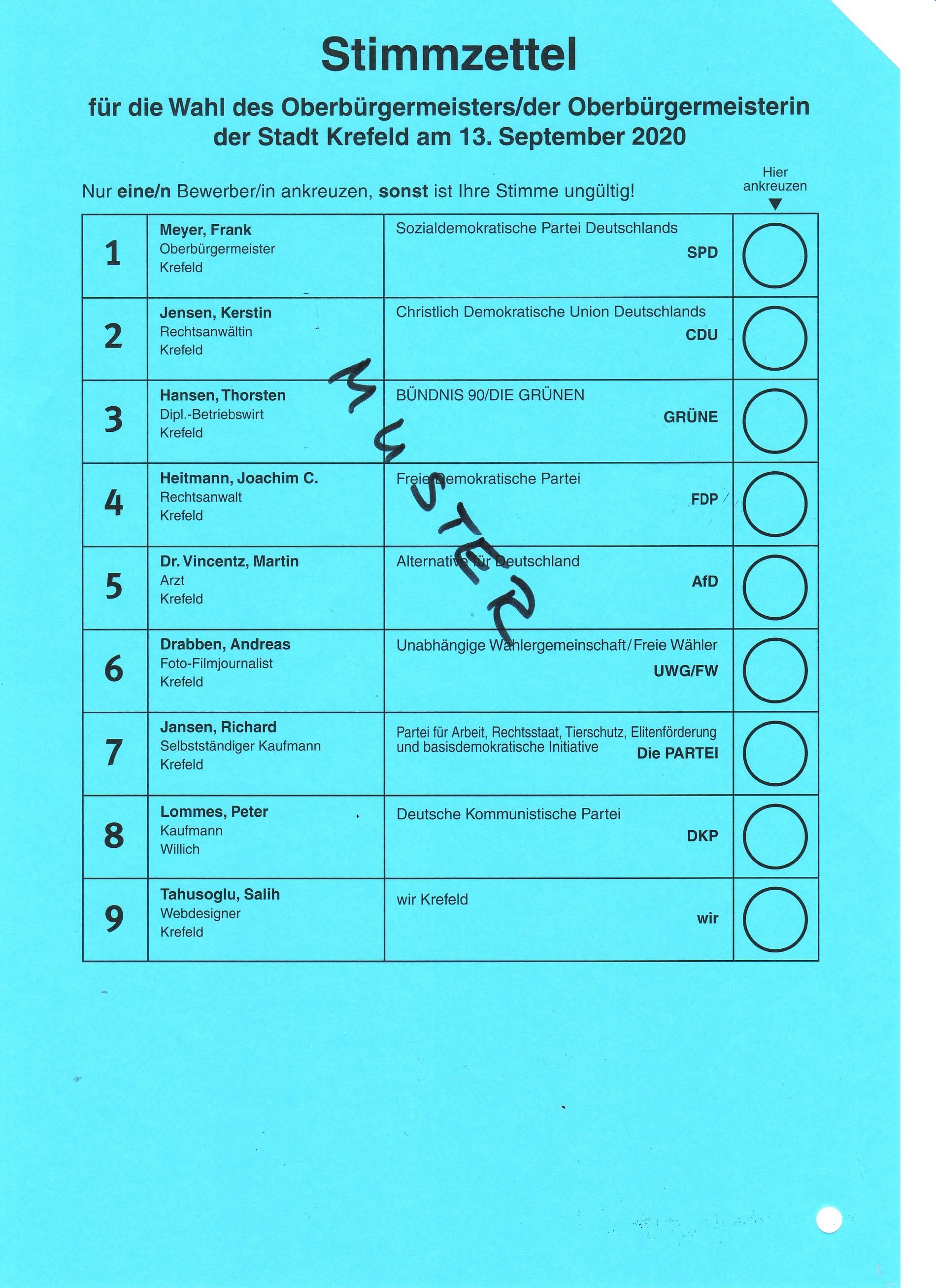 Wahlzettel Kommunalwahl