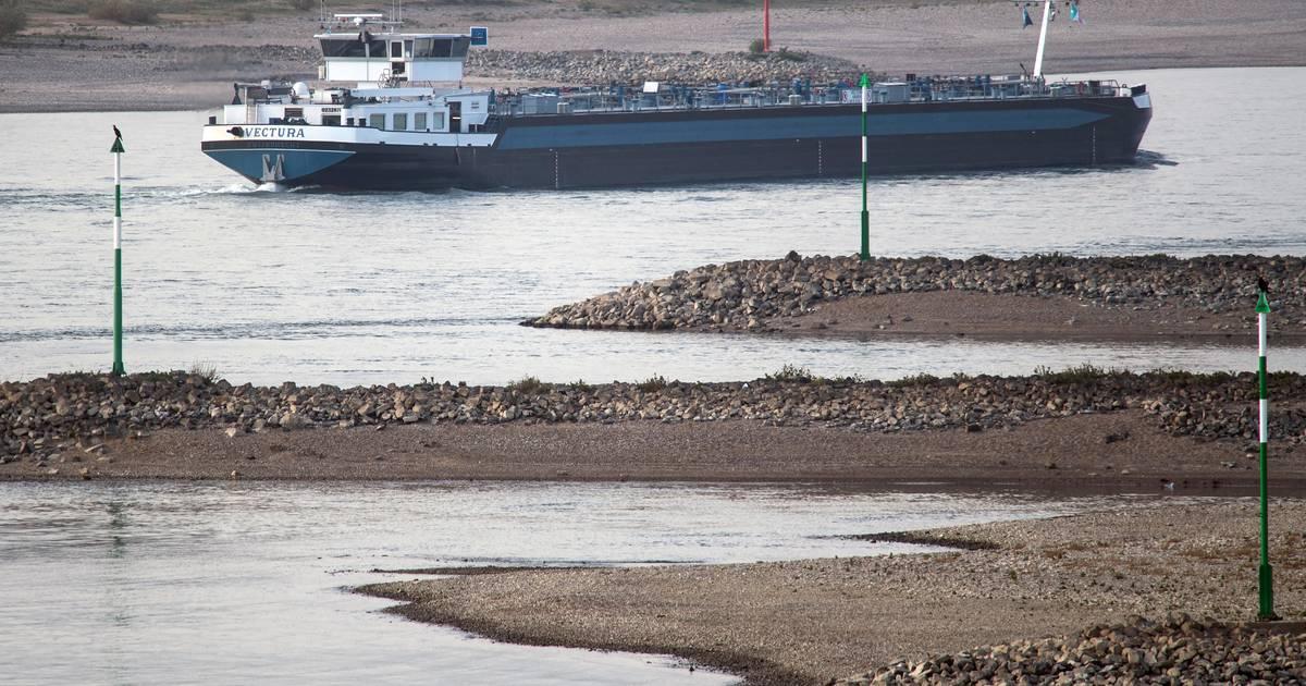 Wasserschutzpolizei im Einsatz: Großes Tankschiff fährt sich auf dem Rhein bei Köln fest
