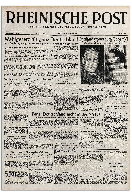 8 Jahre Rheinische Post   Historische Titelseiten